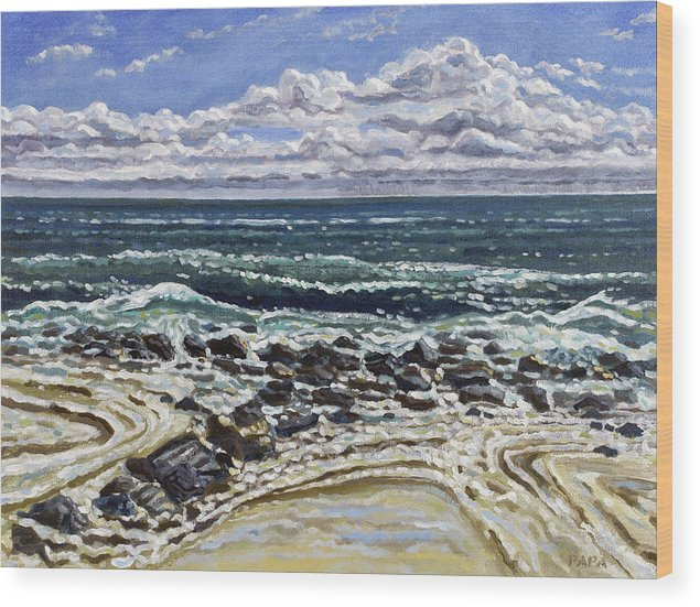 Ocean Wood Print featuring the painting Patterns in the Sand by Ralph Papa