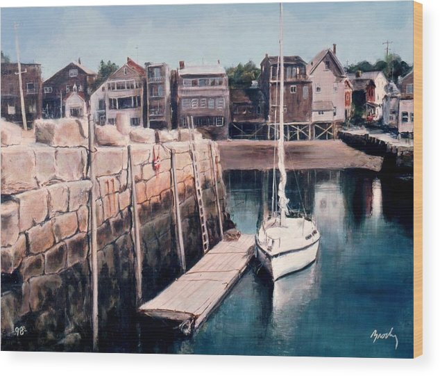 Landscape Wood Print featuring the painting Rockport by William Brody