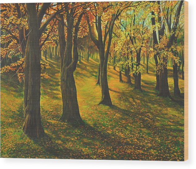 Landscape Wood Print featuring the painting The plains of Abraham by Craig shanti Mackinnon