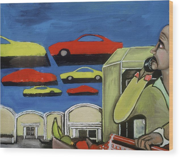 Sobe Wood Print featuring the painting South Beach Miami Grocery Store Parking Lot Art Print by Tommervik