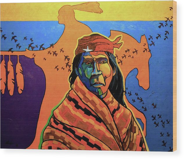 Native American Wood Print featuring the painting Vision Quest by Joe Triano
