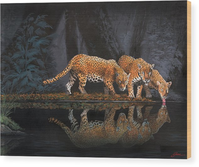 #leopards Wood Print featuring the painting A Cool Drink by Harold Shull