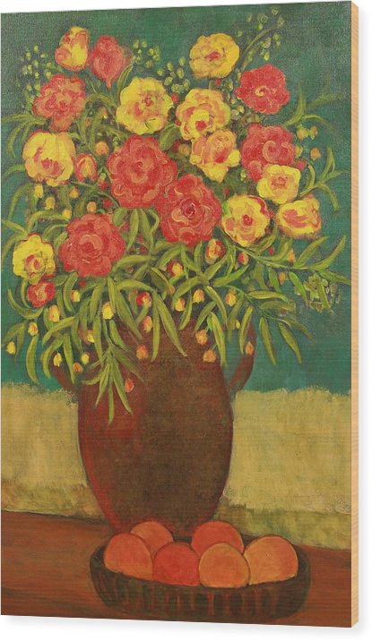 Floral Wood Print featuring the painting Babette's Bouquet by Susan Rinehart