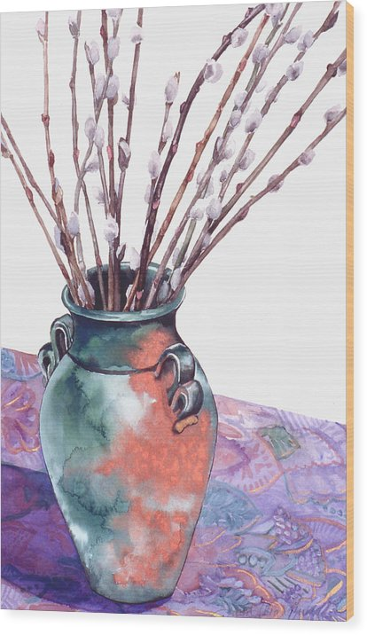 Watercolor Wood Print featuring the painting Pussy Willows Bouquet by Caron Sloan Zuger