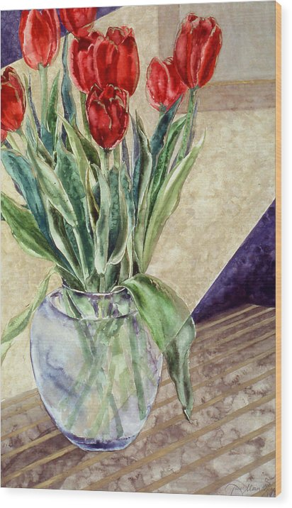 Watercolor Wood Print featuring the painting Tulip Bouquet - 11 by Caron Sloan Zuger
