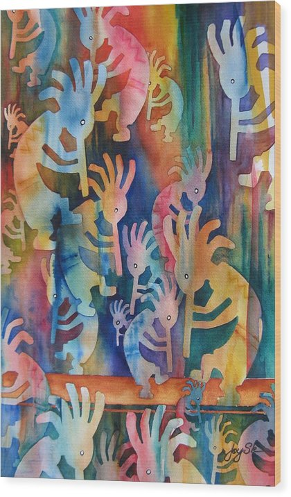 Southwest Wood Print featuring the painting Kokopelli - Making Music by Joy Skinner