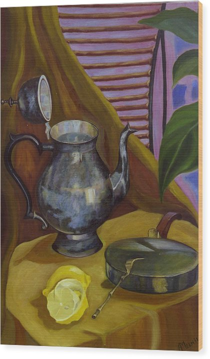 Still Life Wood Print featuring the painting Morning by Antoaneta Melnikova- Hillman