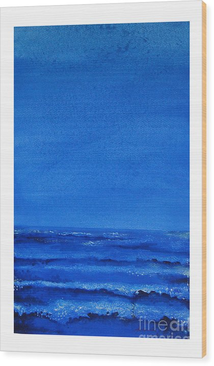 Abstract Wood Print featuring the painting Seascape-0 by Padmakar Kappagantula
