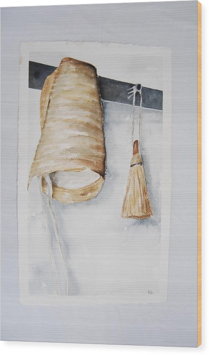 Shaker/ Amish Bonnet And Hand Broom Wood Print featuring the painting Shaker Bonnet And Broom by Marti Kuehn