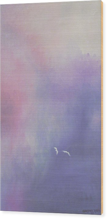 Sky Wood Print featuring the painting Two Birds Flying In Ravine. by Christina Rahm Galanis
