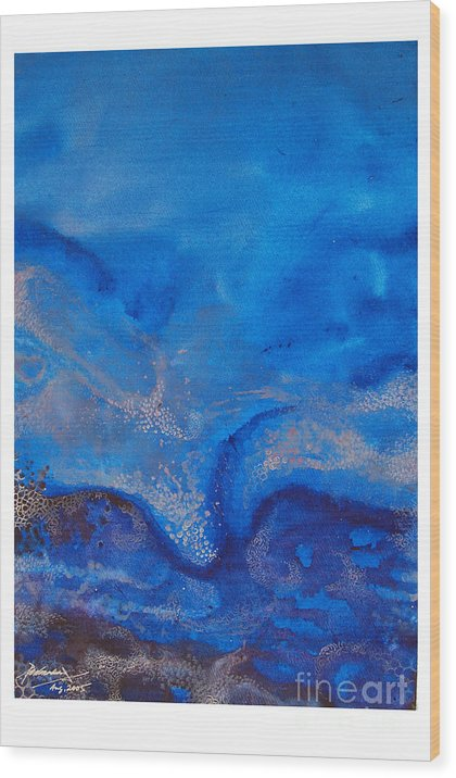 Abstract Wood Print featuring the painting Seascape-1 by Padmakar Kappagantula
