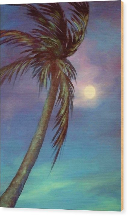 Palm Tree Wood Print featuring the painting Blue Night Palm by Joann Shular