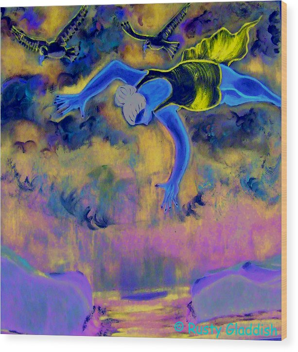 Dreams Wood Print featuring the painting Flying Over Seas by Rusty Woodward Gladdish