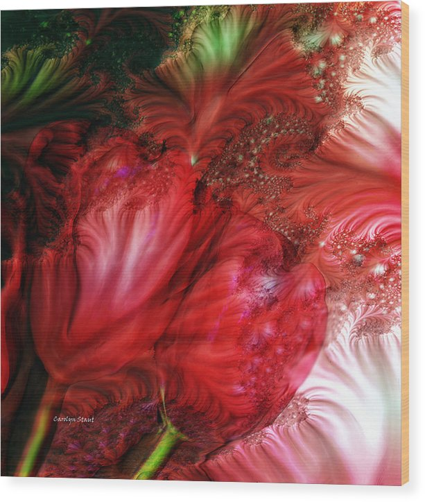 Red Tulips Fractal Art Floral Abstract Realism Wood Print featuring the digital art Red Tulips by Carolyn Staut