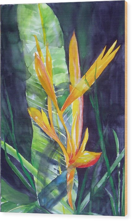Tropical Plant Wood Print featuring the painting Golden Torch by Maritza Bermudez