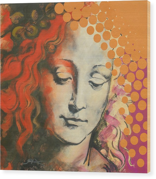 Figurative Wood Print featuring the painting Davinci's Head by Jean Pierre Rousselet