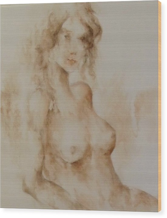 Nude Wood Print featuring the painting Misty Girl by Joann Shular