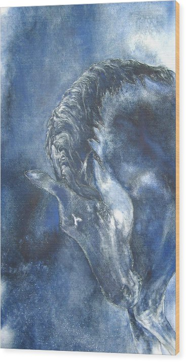Horse Wood Print featuring the painting Blues by Barbara Widmann