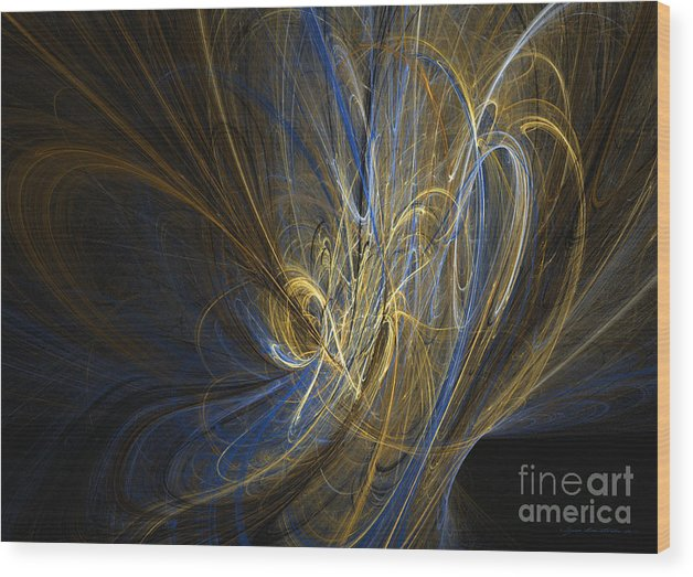 Abstract Fine Art Wood Print featuring the mixed media Champagne - Abstract Art by Abstract art prints by Sipo
