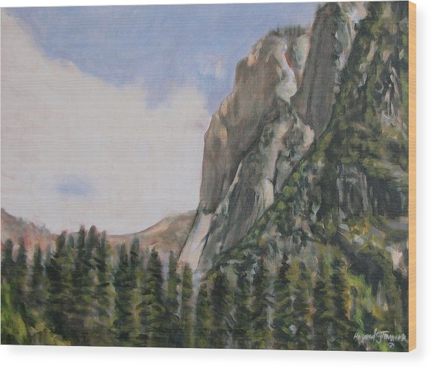 Landscape Wood Print featuring the painting One Flight Up by Howard Stroman