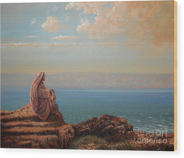 Jesus Wood Print featuring the painting Jesus By The Sea by Michael Nowak