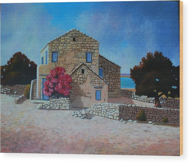 Impressionism Landscape Wood Print featuring the painting Stone House On The Beach by Santo De Vita