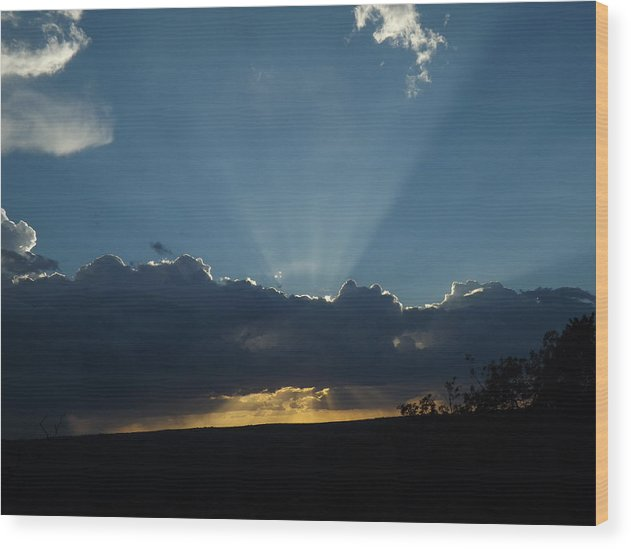 A September Sunset Wood Print featuring the photograph A September Sunset by Rebecca Cearley
