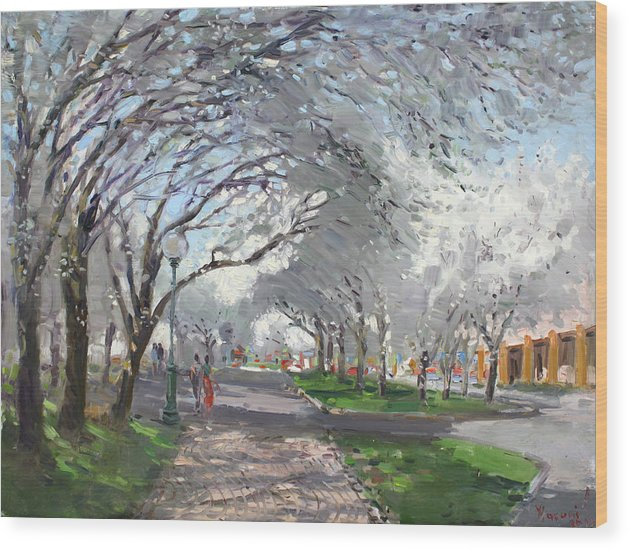 Blooming Trees Wood Print featuring the painting Blooming In Niagara Park by Ylli Haruni