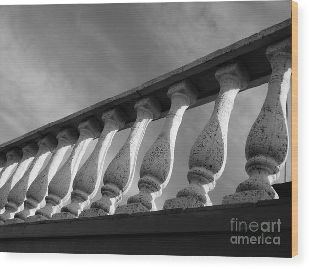 Black And White Photography Wood Print featuring the photograph Rail To The Sky by Lori-Anne Fay