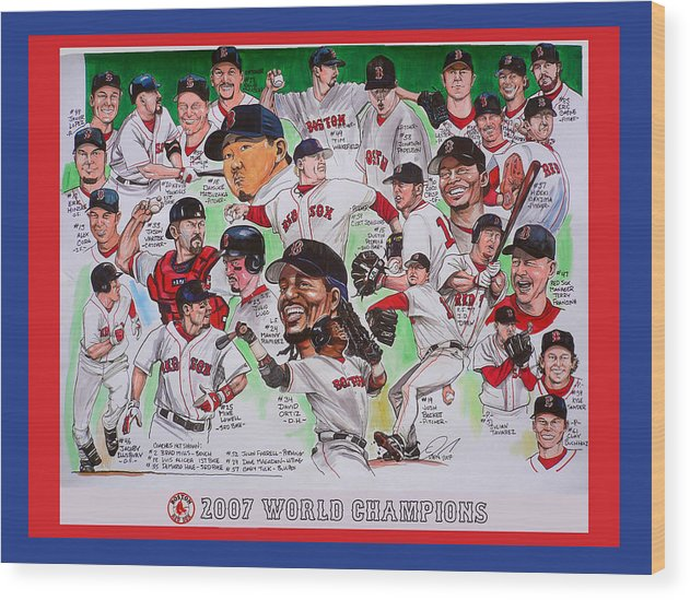 Mbl Wood Print featuring the painting 2007 World Series Champions by Dave Olsen