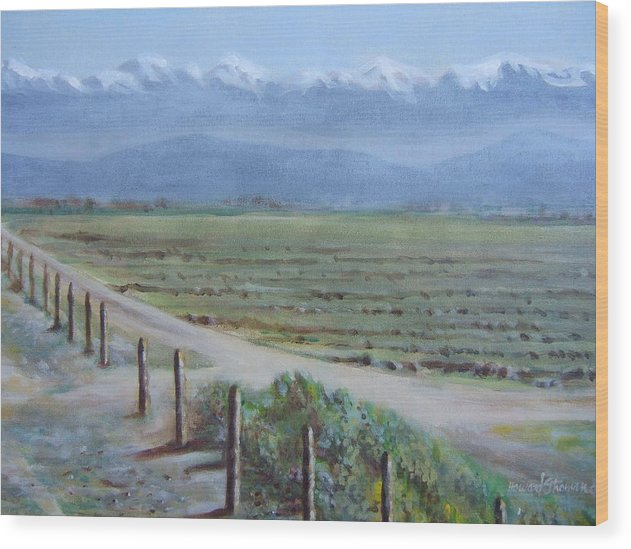 Landscape Wood Print featuring the painting Central Valley At Tulare by Howard Stroman
