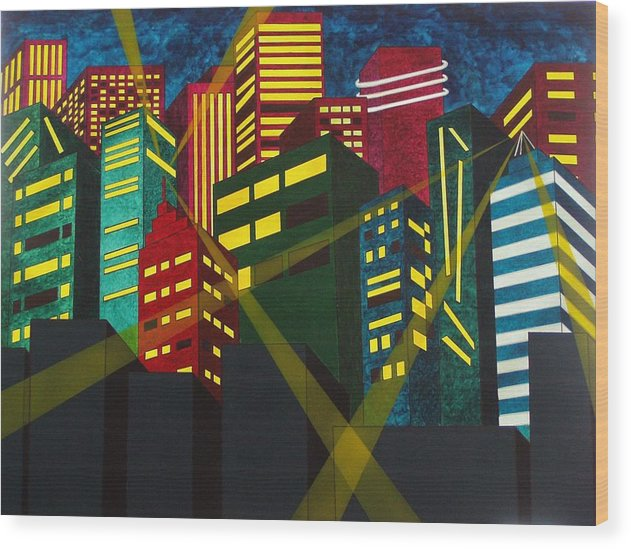 City Wood Print featuring the painting City Scion by Patti Bean