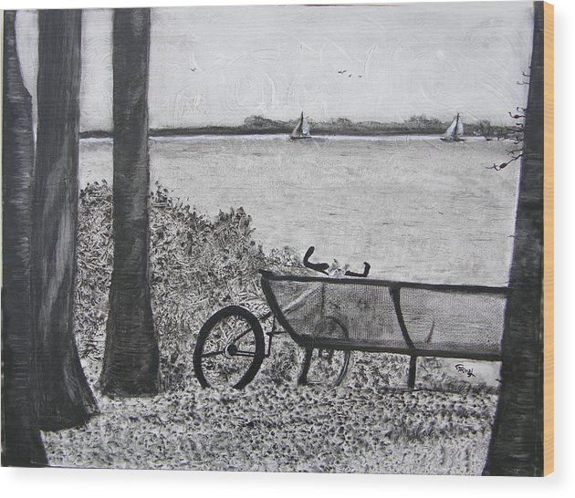 Bicycle Wood Print featuring the painting Enjoy The View by Fernando Armel