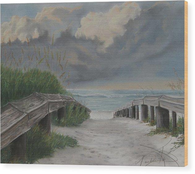 Beach Wood Print featuring the pastel Before Katrina by Barbara Keel