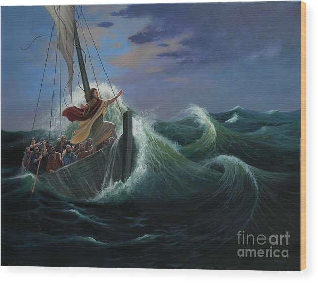 Bible Wood Print featuring the painting Peace Be Still by Michael Nowak