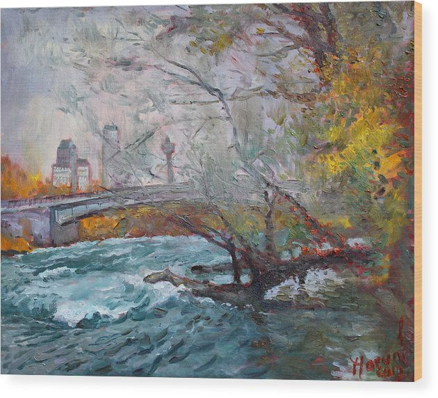 Niagara Falls River Wood Print featuring the painting ....then The Rain Started by Ylli Haruni