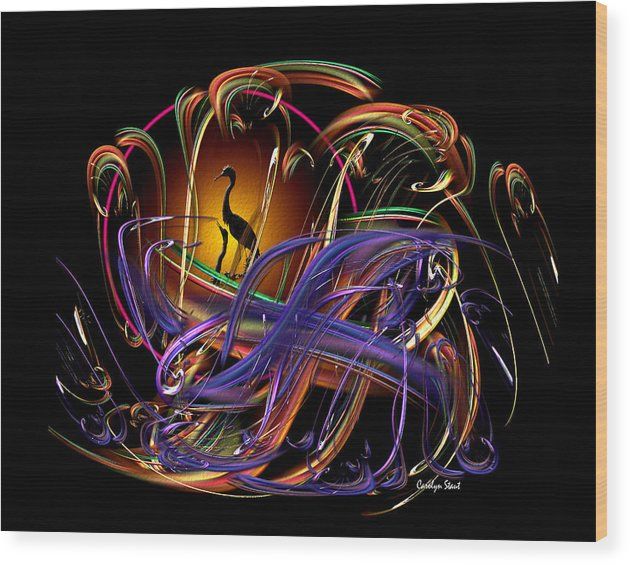 Abstract Wood Print featuring the digital art The Promise by Carolyn Staut