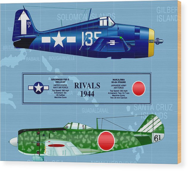 Airplane Wood Print featuring the digital art Rivals 17 by Tim Lutrey