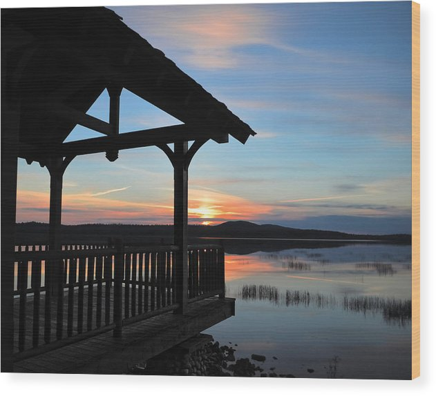 Sunset Wood Print featuring the photograph Sunset In The Adirondacks by Maggy Marsh