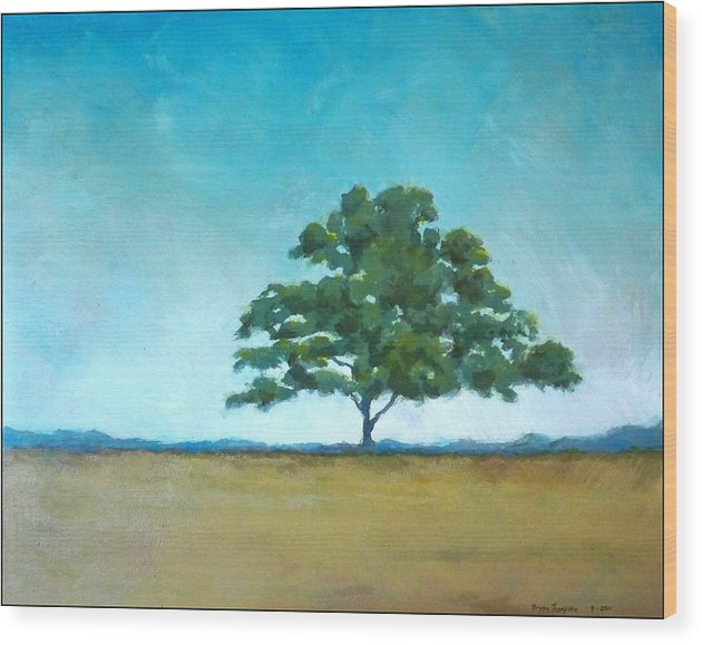 Landscape Wood Print featuring the painting Quiet Strength by Bryon Thompson