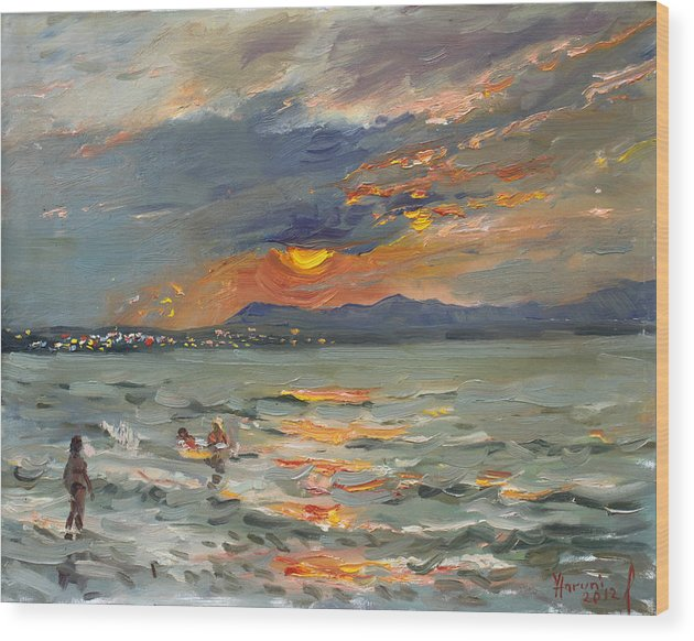 Seascape Wood Print featuring the painting Sunset In Aegean Sea by Ylli Haruni