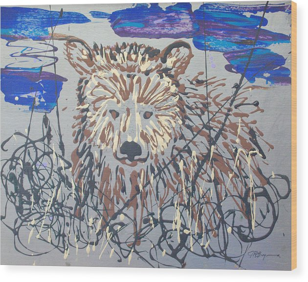 Abstract/impressionist Painting Wood Print featuring the painting The Kodiak by J R Seymour