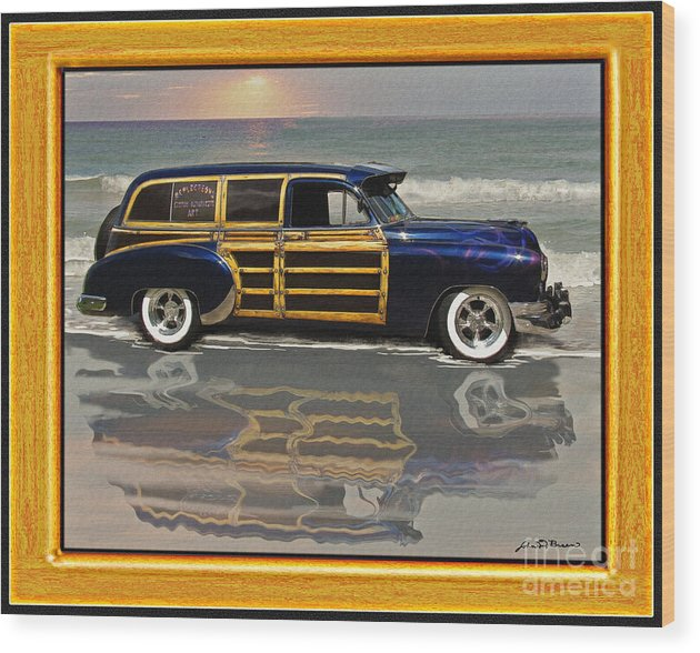 1951chevy Sedan Delivery/airbrushed Woodie Wagon Wood Print featuring the painting 1951 Chevy Sedan Delivery by John Breen