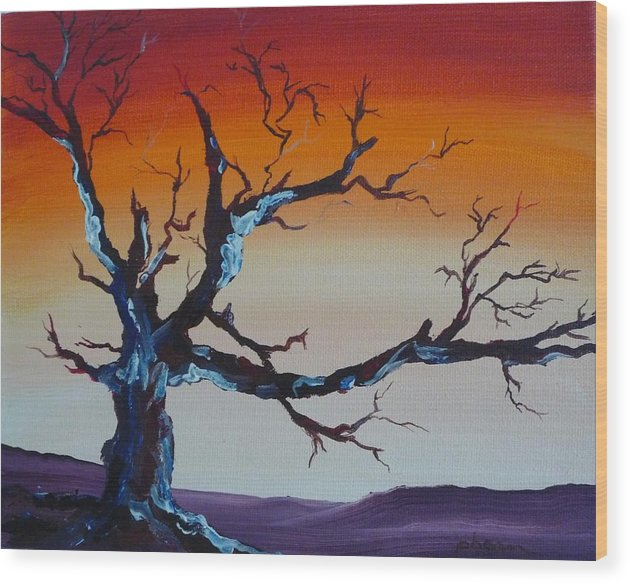Tree Wood Print featuring the painting Fungus Tree by Patti Bean