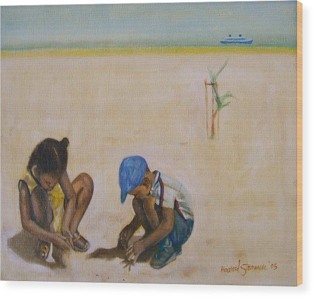 Children At The Beach Wood Print featuring the painting Searching For Treasure by Howard Stroman