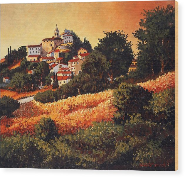 Impressionism Landscape Wood Print featuring the painting Village Of Molise Italy by Santo De Vita