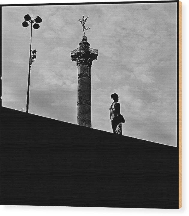 Wood Print featuring the pyrography Place De La Bastille - Paris. by Cyril Jayant