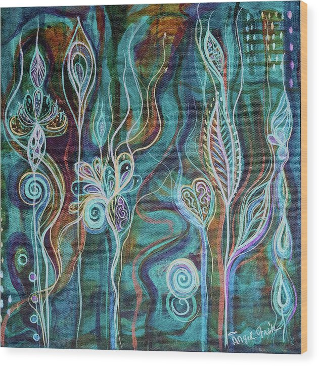 Intuitive Art Wood Print featuring the painting Bling Bling by Angel Fritz
