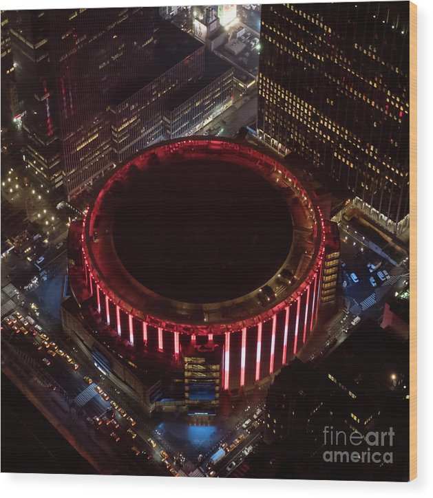 Madison Square Garden Wood Print featuring the photograph Madison Square Garden Aerial by David Oppenheimer