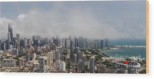 Chicago Wood Print featuring the photograph Chicago Skyline Aerial Photo by David Oppenheimer